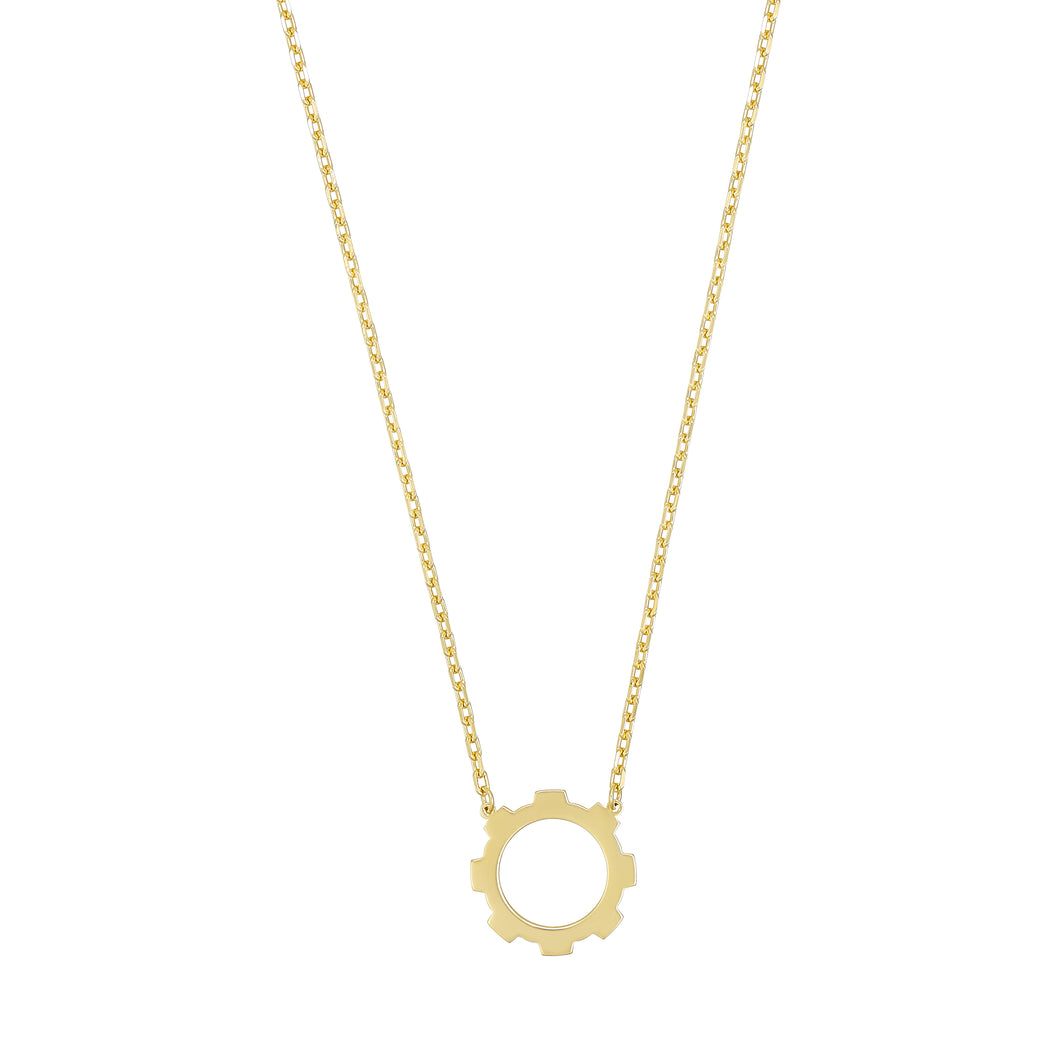 Mini Gear Necklace 18k Gold Plated.