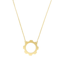 Load image into Gallery viewer, Large Gear Necklace 18k Gold Plated