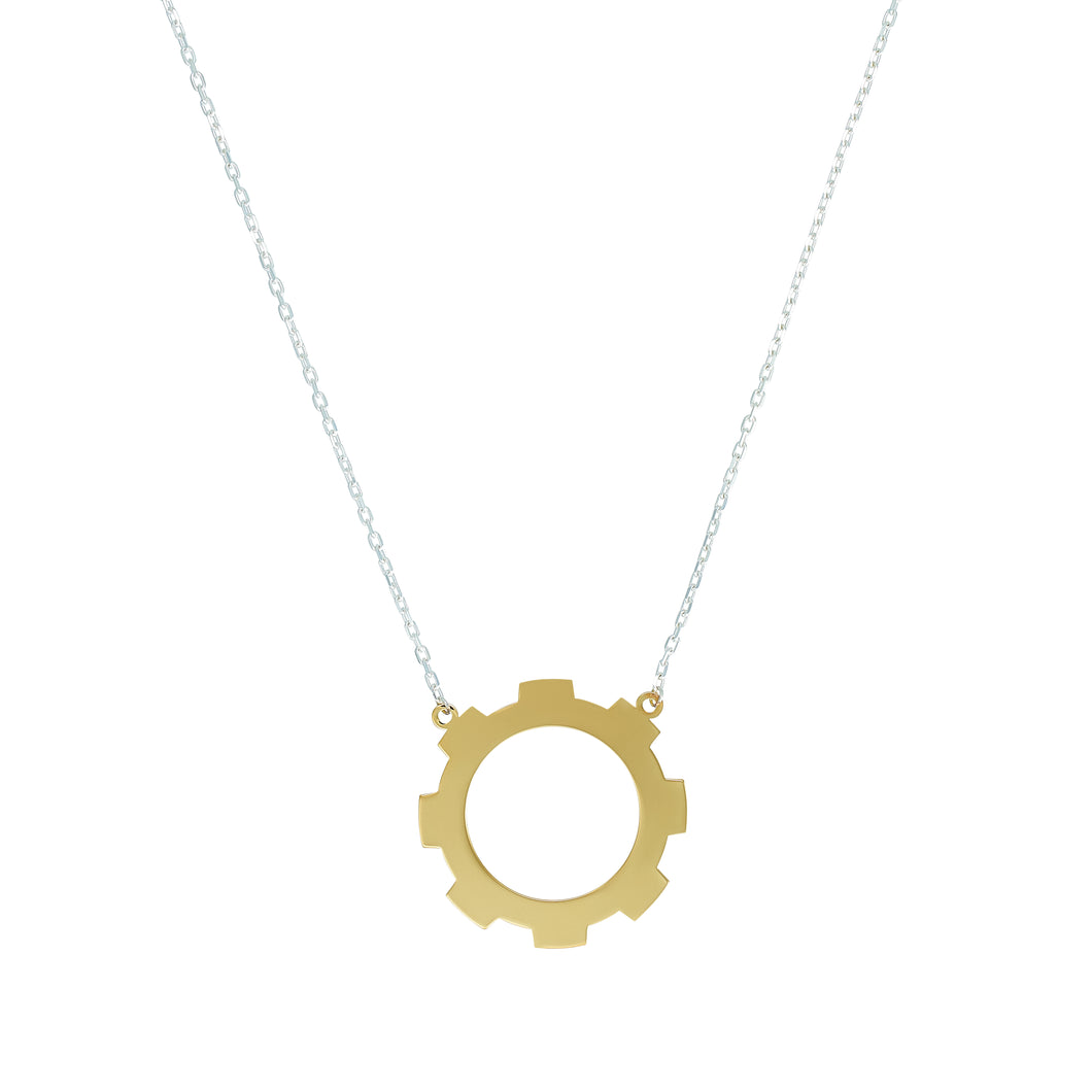 Large Gear Necklace 18k Gold plated.