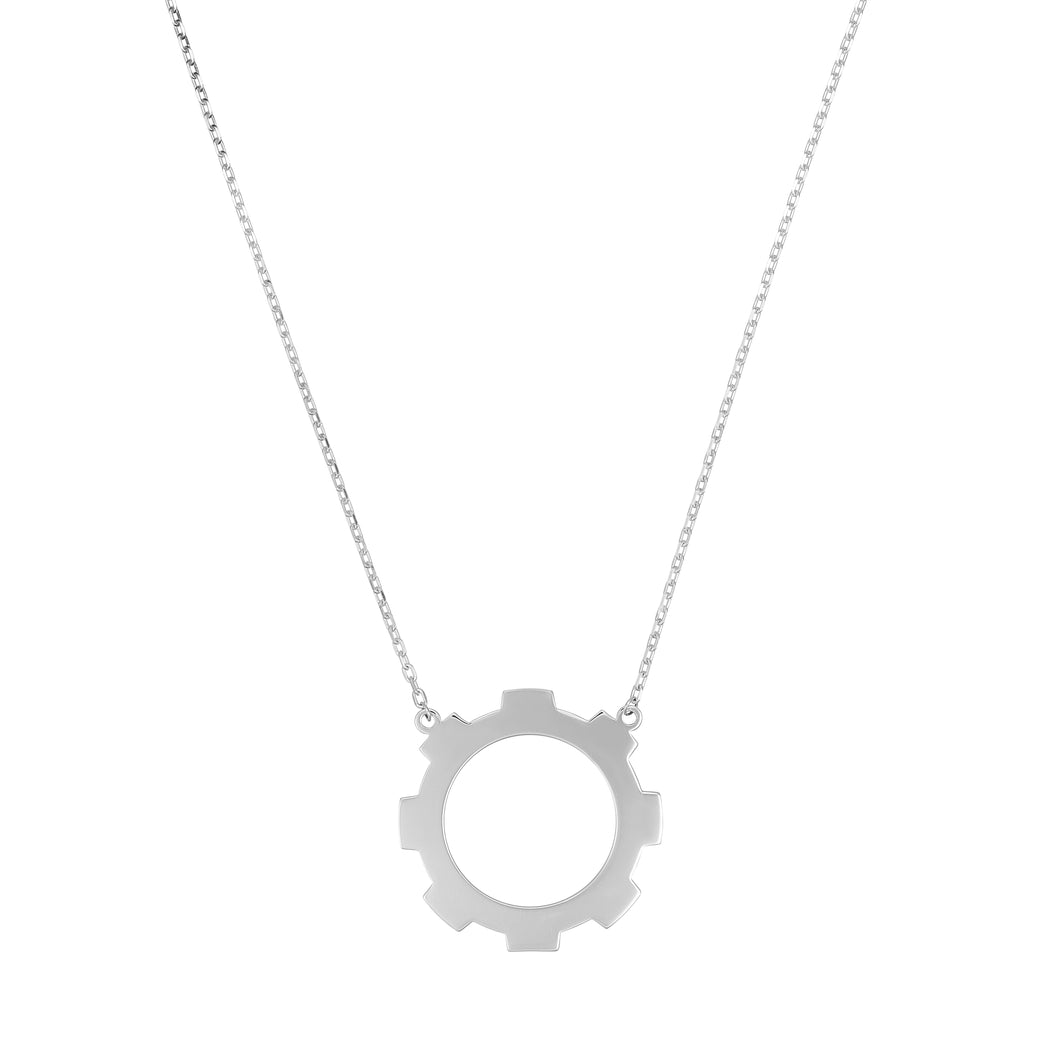 Sterling Silver Large Gear Necklace.