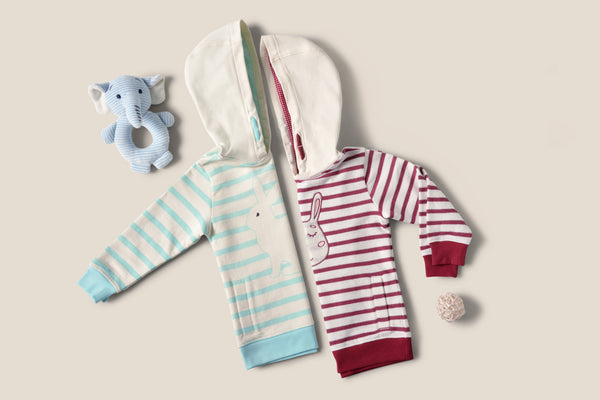 Striped Baby Hoodie Sweaters with Bunny Embroidery