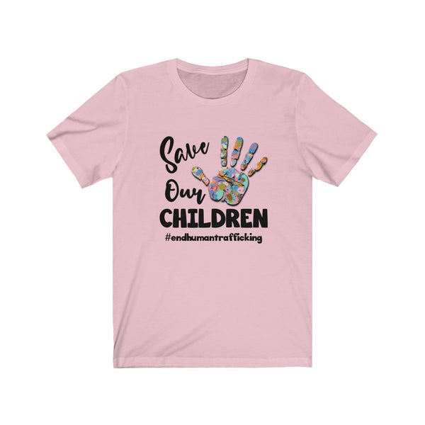 Save Our Children Rainbow Hand Statement Short Sleeve Tee  -STC1002
