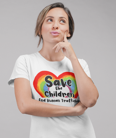 Save the Children Rainbow Heart Short Sleeve Statement Tee  -STC1013
