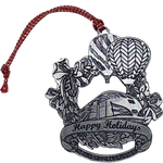 Pewter Train and Balloon Holiday Ornament