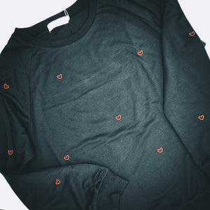 Black Sweatshirt - Red Heart