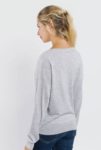 V-Neck Fine Knit Jumper Grey/Navy