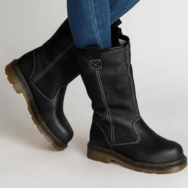 Plain Flat Round Toe Date Outdoor Mid Calf Flat Boots