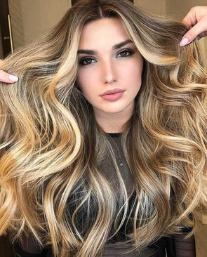 2020 summer golden brown long hair