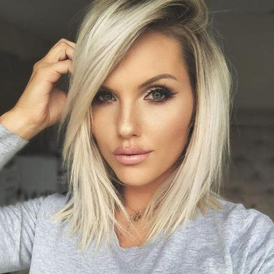2020 Summer New Short Straight Hair Grey Gold Wig