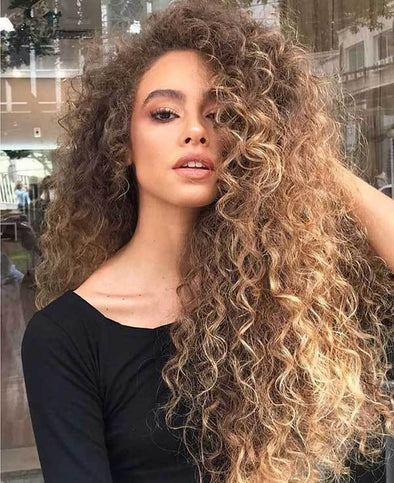 2020 Summer Golden Brown Lace Curly wig
