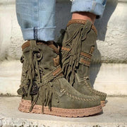 Vintage Tassel Stone-Washed Boots