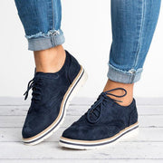 Women'S Lace Up Perforated Oxfords Flats