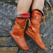 Women¡¯S Vintage Pattern Leather Lace-Up Soft Flat Boots