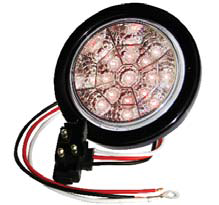 "F235104 | RED Clear, 4"" Dia. 17 LED Chromed Reflector Sealed"