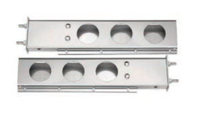 F245710 | CHROME SPRING LOADED 2 PIECES LIGHT BAR WITH ROUND CUTOUTS
