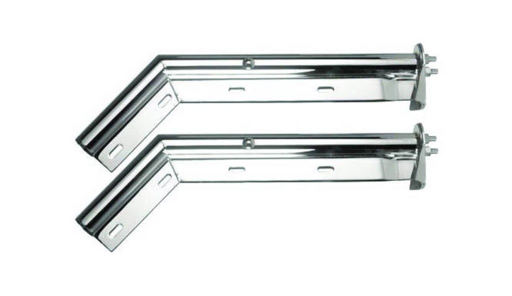 "MUD FLAP HANGER CHROME 45 DEGREE ANGLE 1-1/8"" SPACING BETWEEN BOLTS. SOLD BY PAIR"