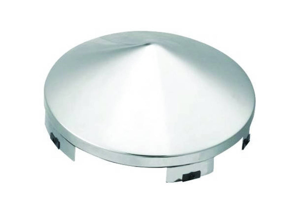 POINTED CHROME FRONT HUB CAP 6 MULTI-NOTCH CUT OUT 8-23/32""