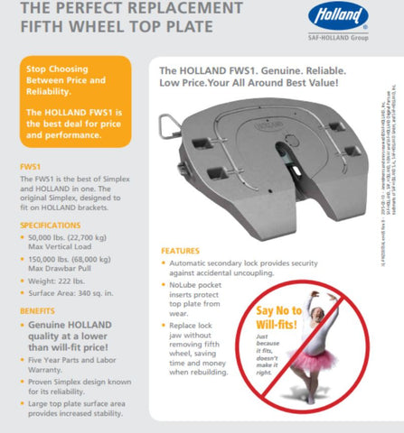 XA-S1-A-L-P HOLLAND Fifth Wheel FWS1 Top Plate