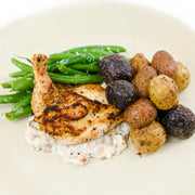 airline chicken breast, marble potatoes, green beans, bacon cream sauce