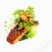 MUSHROOM SOY GLAZED SALMON OR CHICKEN