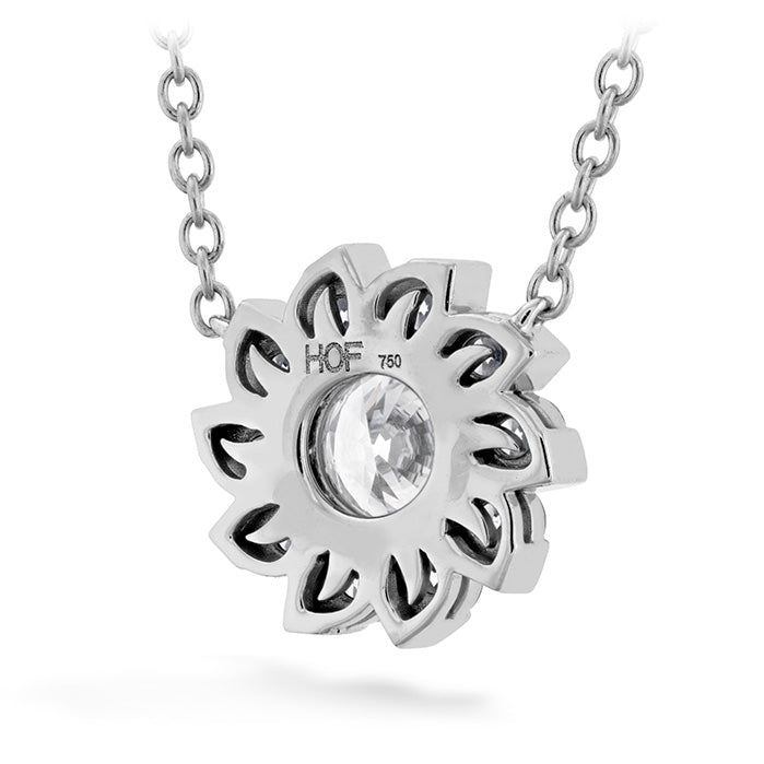 0.9 ctw. Aerial Sol Halo Necklace in 18K White Gold