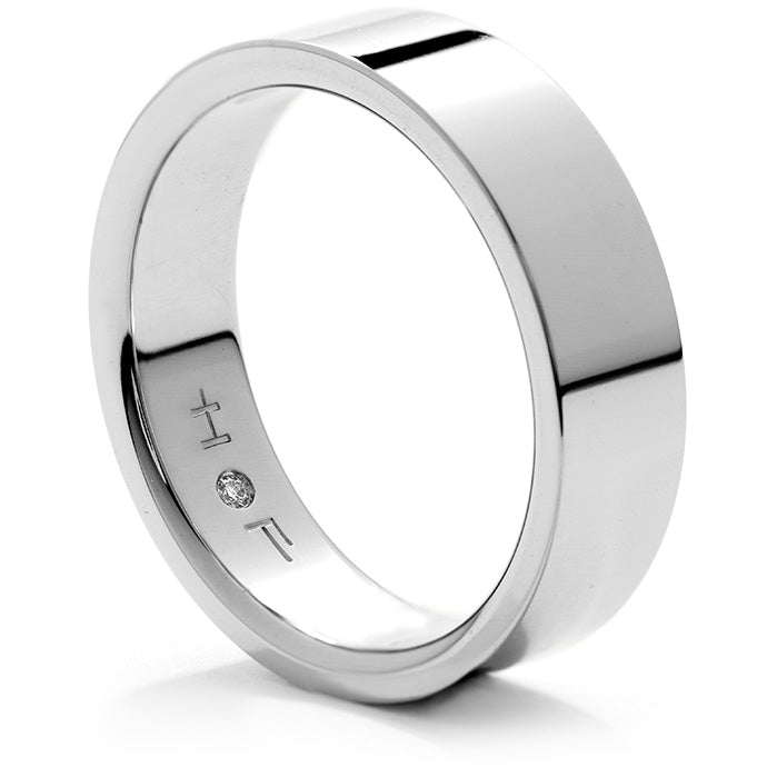 Mens Flat Comfort Fit Band in 18K White Gold