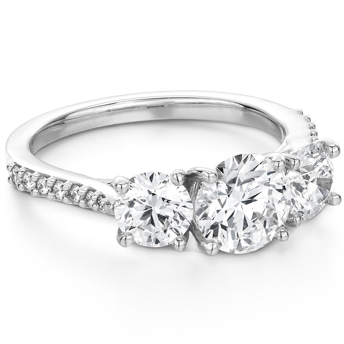 0.14 ctw. Camilla 3 Stone Diamond Engagement Ring in 18K White Gold