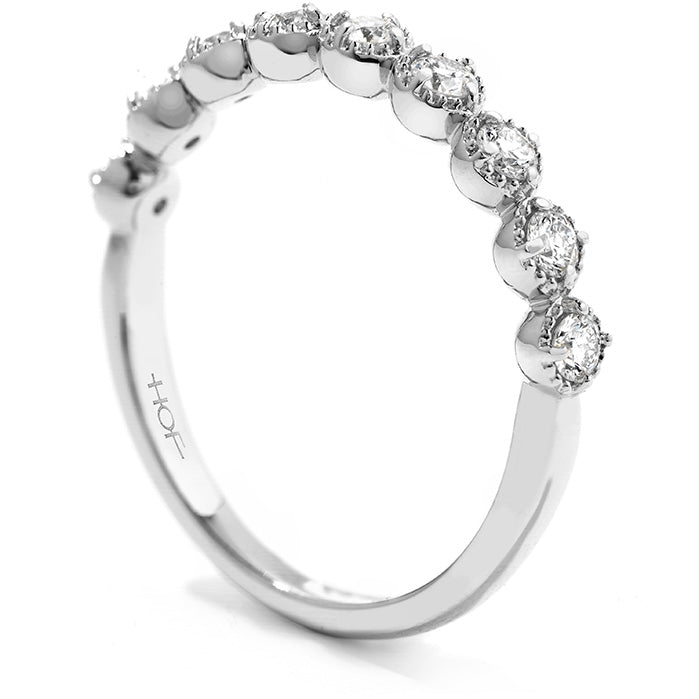 0.25 ctw. Diamond Bar Single Prong Milgrain Band in 18K White Gold