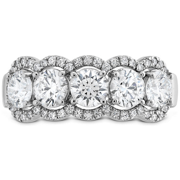 1.55 ctw. HOF 5 Stone Halo Band in 18K White Gold
