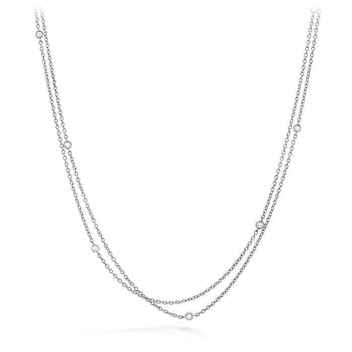 0.1 ctw. HOF Double Chain Bezel Necklace in 18K White Gold