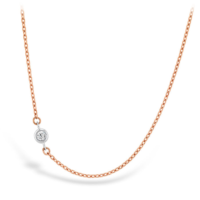 0.02 ctw. HOF Signature Off-Set Single Bezel Necklace in 18K White Gold