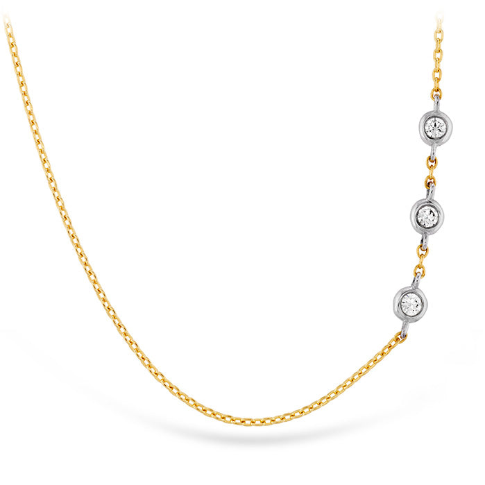 0.05 ctw. HOF Signature Off-Set Triple Bezel Necklace in 18K White Gold