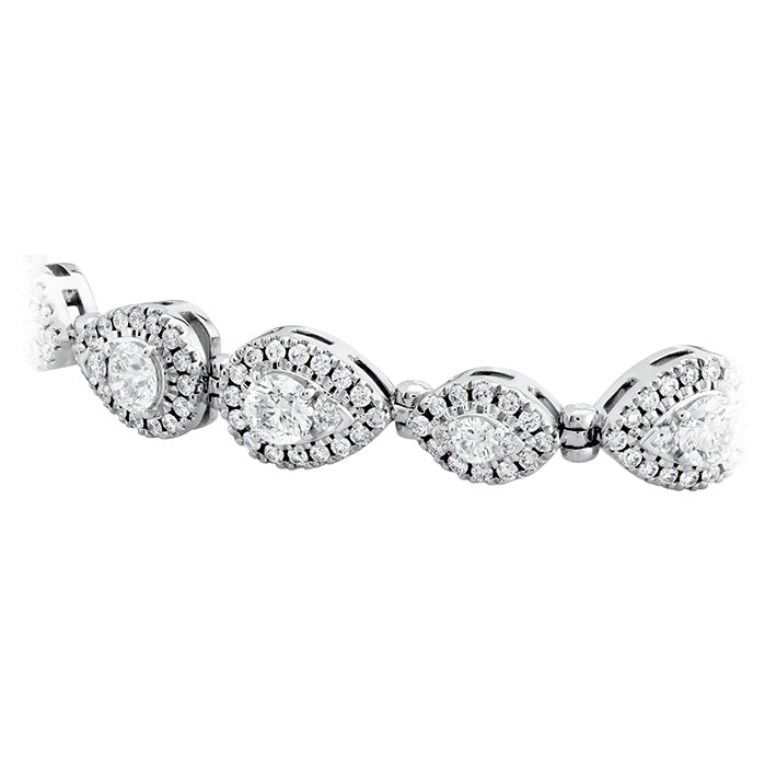 4.8 ctw. HOF Teardrop Halo Line Bracelet in 18K White Gold