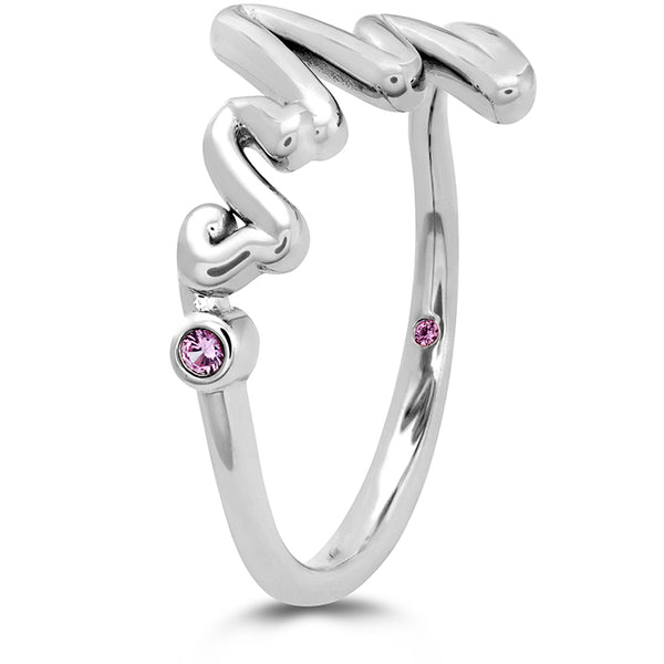 Love Code - Mrs Code Band with Sapphires in 18K White Gold