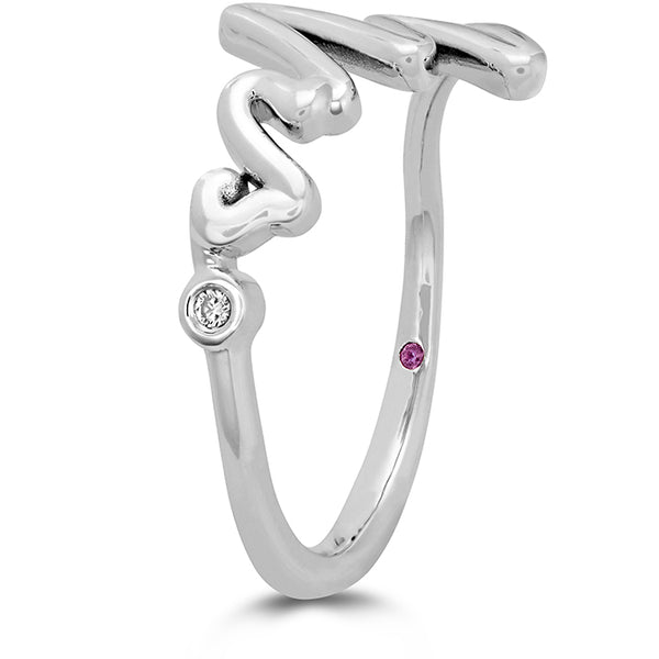 0.01 ctw. Love Code - Mrs Code Band in 18K White Gold