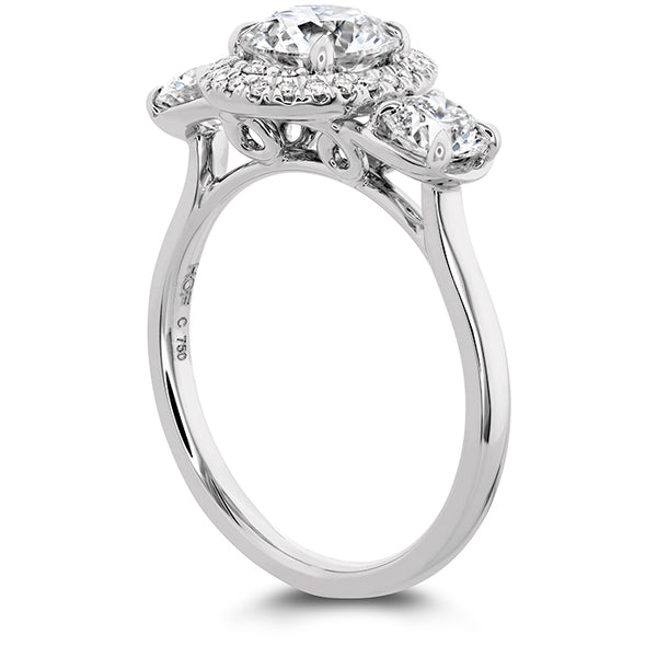 0.15 ctw. Juliette 3 Stone Oval Halo Engagement Ring in 18K White Gold