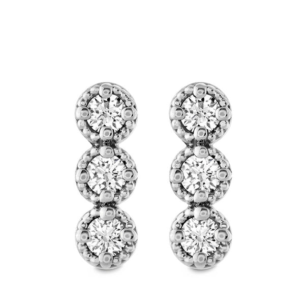 0.19 ctw. Liliana Milgrain Diamond Bar Earrings in 18K White Gold