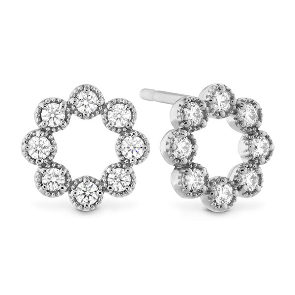 0.32 ctw. Liliana Milgrain Diamond Circle Earrings in 18K White Gold