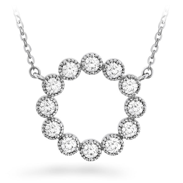 0.38 ctw. Liliana Milgrain Diamond Circle Pendant in 18K White Gold