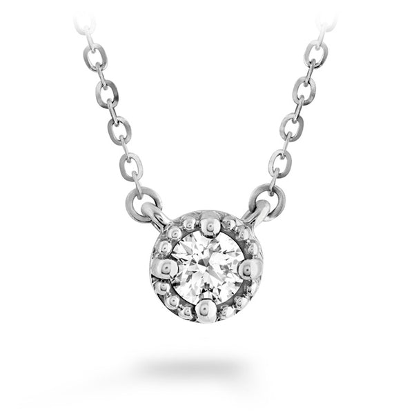 0.33 ctw. Liliana Milgrain Single Diamond Pendant in 18K White Gold