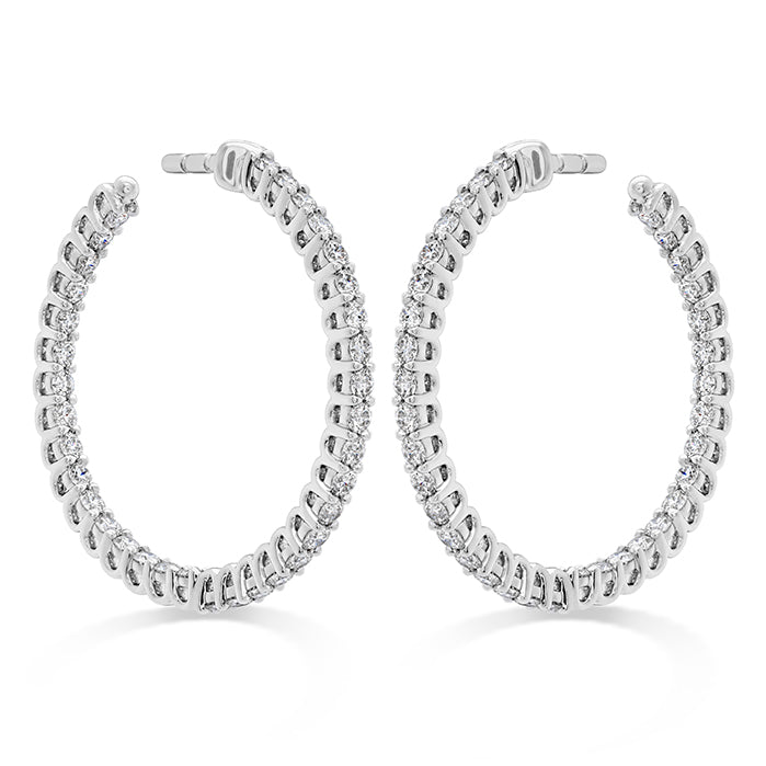 0.87 ctw. Signature Round Inside Out Hoop - Small in 18K White Gold