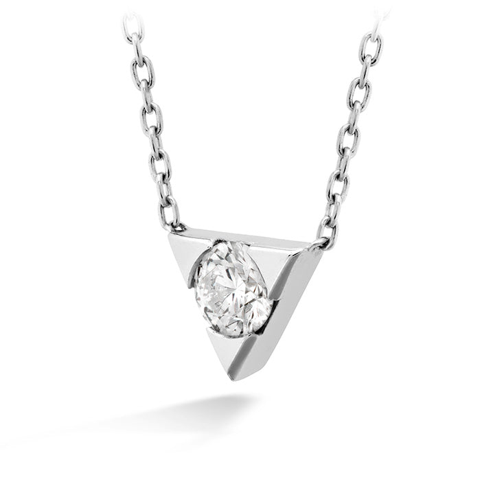 0.1 ctw. Triplicity Single Diamond Pendant in 18K White Gold