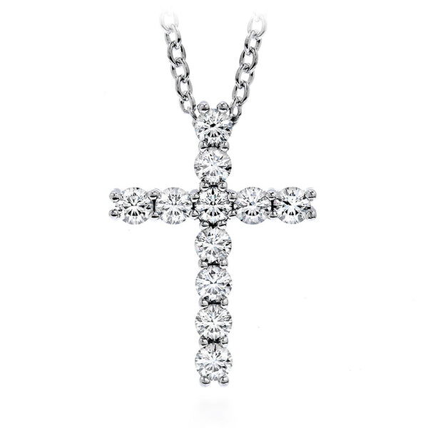 0.15 ctw. Whimsical Cross Pendant Necklace in 18K White Gold