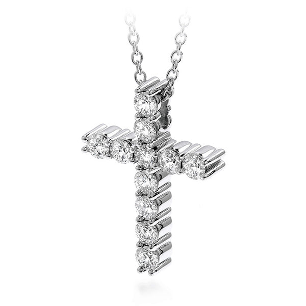 0.65 ctw. Whimsical Cross Pendant Necklace in 18K White Gold