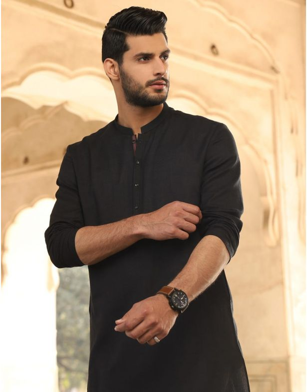 JJ Mens Regular Kurta-Medium-Black