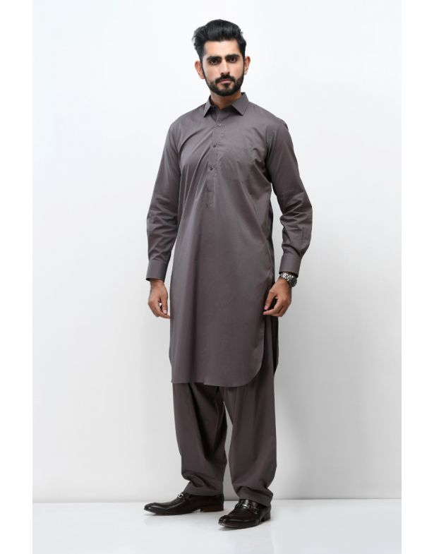 Classic Ash Grey Easy Care Shalwar Kameez