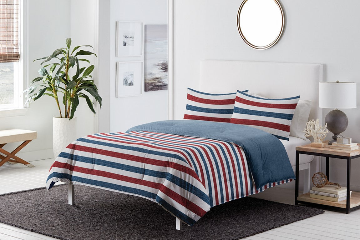 "4 Pcs Comforter Twin 66X86"" Nolan Stripe"