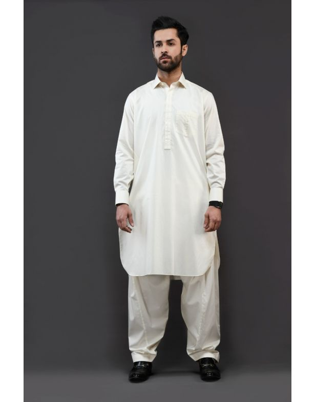 Classic Off White Egyptian Cotton Shalwar kameez