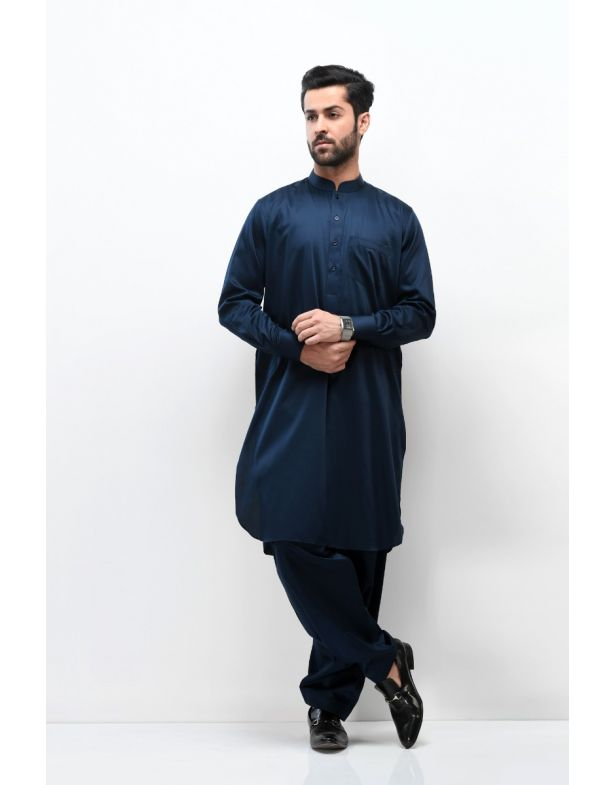 Navy Blue Cotton Smart Fit Shalwar Kameez