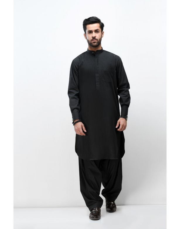 Black Easy Care Classic Shalwar Kameez
